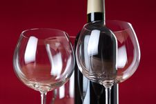Wineglasses With Bottle And Carafe.