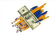 Free Pens, Pencils And Money Stock Image - 15610141