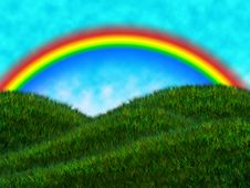 Rainbow Above The Meadow Royalty Free Stock Photo