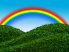 Free Rainbow Above The Meadow With Sky Stock Images - 15612894