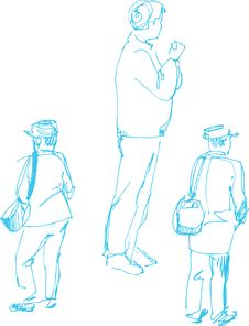 Free Sketch Of Fellow Dark Blue By A Penci Stock Image - 15613761