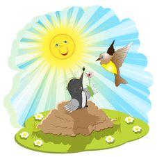 Free Mole And Bird Stock Image - 15614791