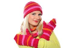 Free Pretty Funny Winter Woman In Hat And Gloves Stock Photos - 15615453