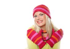 Free Pretty Funny Winter Woman In Hat And Gloves Stock Photography - 15615472