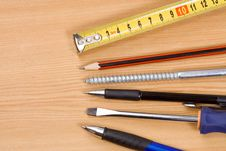 Pen, Pencil And Tape Measure