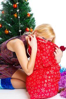 Girl Near Christmas Fir Tree Stock Photography