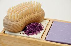 Soap Bar With Bath Salt Royalty Free Stock Photography