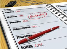 Free Birthday Reminder Royalty Free Stock Photos - 15618758