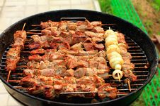 Free Bright Barbecue Sticks On Mangal Royalty Free Stock Photos - 15618848