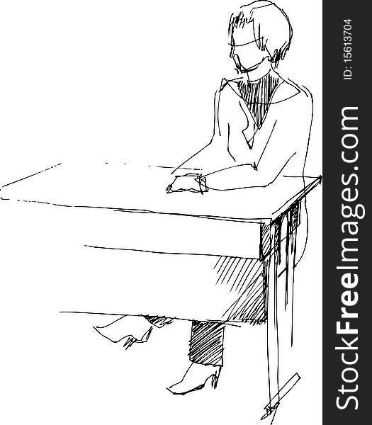Girl after a school desk