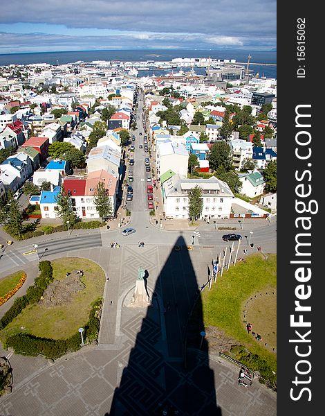 Aerial view from Hallgrimskirkja church - Iceland.