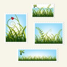 Free Stamps With Grass, Stock Photography - 15620602