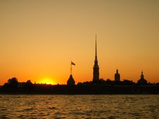 St. Petersburg Russia Sunset Stock Photos