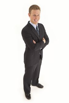 Businessman In Suit With Arms Crossed Stock Images