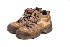 Hiking Boots On White Background Royalty Free Stock Image