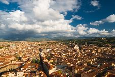 Roofs Of Florence And Santa Croce Church Stock Images