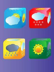 Cubes With Clouds Royalty Free Stock Images
