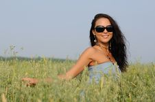Free Woman With Glasses In The Field Stock Image - 15624621