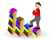 Free Vector Illustration The Boy Going Under Books Stock Image - 15626181