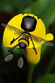 Honey Bee Going To The Big Yellow Sun Flower Stock Photos