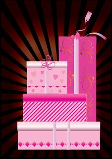 A Set Of Pink Gift Boxes Stock Photography