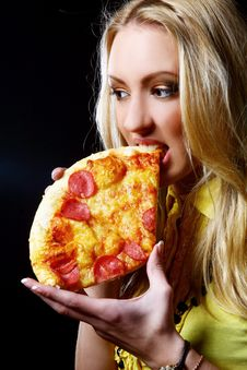 Beautiful Woman Eating Fresh And Tasty Pizza Stock Images