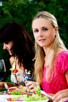 Free Beautiful Girls Drinking Wine Royalty Free Stock Photography - 15630407