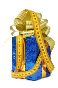 Free Blue Gift And Measure Tape Stock Photo - 15630540