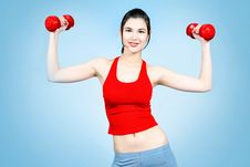 Free Girl With Dumbbells Royalty Free Stock Image - 15631016