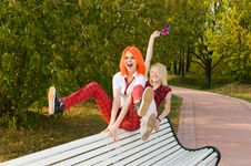 Free Two Teenage Girls Have Fun At Royalty Free Stock Photography - 15639417