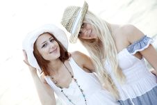 Free Two Beautiful Young Girlfriends On The Beach Stock Photo - 15639490