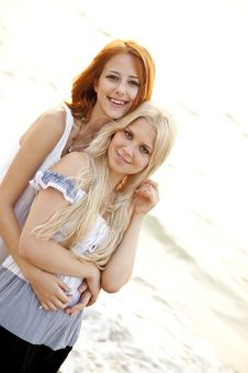 Free Two Beautiful Young Girlfriends On The Beach Stock Photos - 15639743