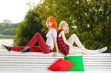 Two Teenage Girls Have Fun At Stock Image