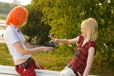 Two Teenage Girls Have Fun At Stock Photos