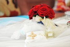 Free Perfume  And Wedding Rings Royalty Free Stock Image - 15640026