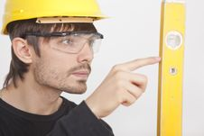 Free Construction Worker With Level Stock Photography - 15640162