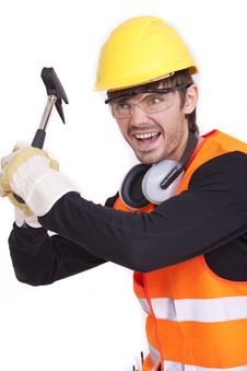 Angry Worker With Hammer Stock Photo