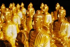 Group Of Golden Buddha Statue Royalty Free Stock Photo