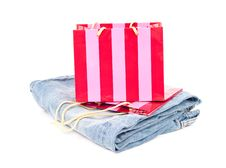 Free Gift Bag With Jeans Royalty Free Stock Photo - 15641275