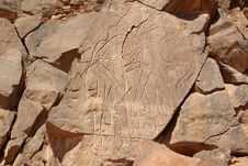 Rock Engraving, Libya Stock Photography