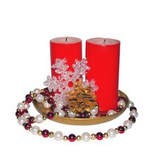 Free Two Red Big Candles Royalty Free Stock Image - 15641516