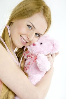 Free Woman With Teddy Bear Stock Image - 15642591