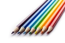 Free Colored Pencils Arranged In Rainbow Spectrum Order Stock Image - 15642811