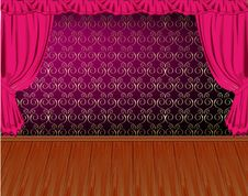 Free Vintage Wall And Curtains Stock Photography - 15644822