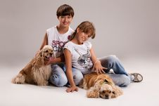 Kids And Dogs Royalty Free Stock Image