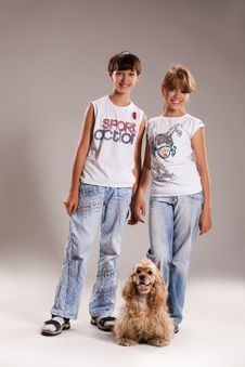 Kids And Dogs Stock Photography