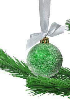 Free Christmas Ball Over White Royalty Free Stock Photos - 15646818
