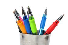 Free Colored Ball-pen In Steel Cup Stock Image - 15647811
