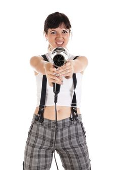 Free Woman Is Aiming From Hairdryer Stock Images - 15648434