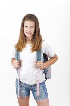 Free Young Smiling Girl With School Bag Stock Image - 15649501